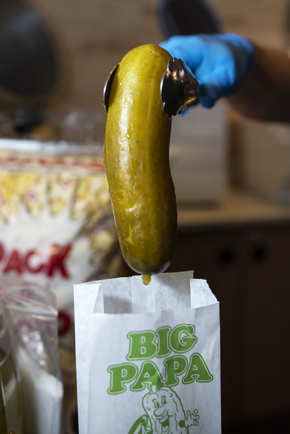 A Big Papa Dill Pickle on sale at the Cinemark 17 IMAX movie theater in Dallas, on Sunday, Nov. 22, 2020.
