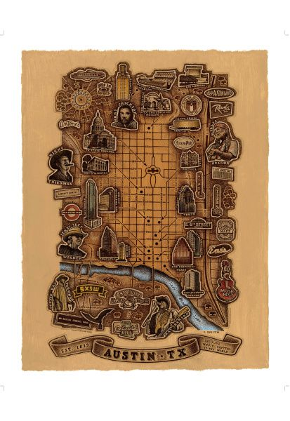 One of Smith's latest works is a map of Austin's music scene.