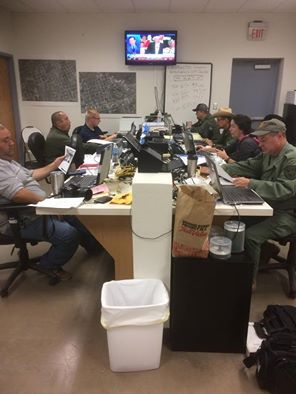 Law-enforcement officials continue the search for Zuzu Verk at the North Brewster County Emergency Response Center on Friday. (Brewster County Sheriff's Office)