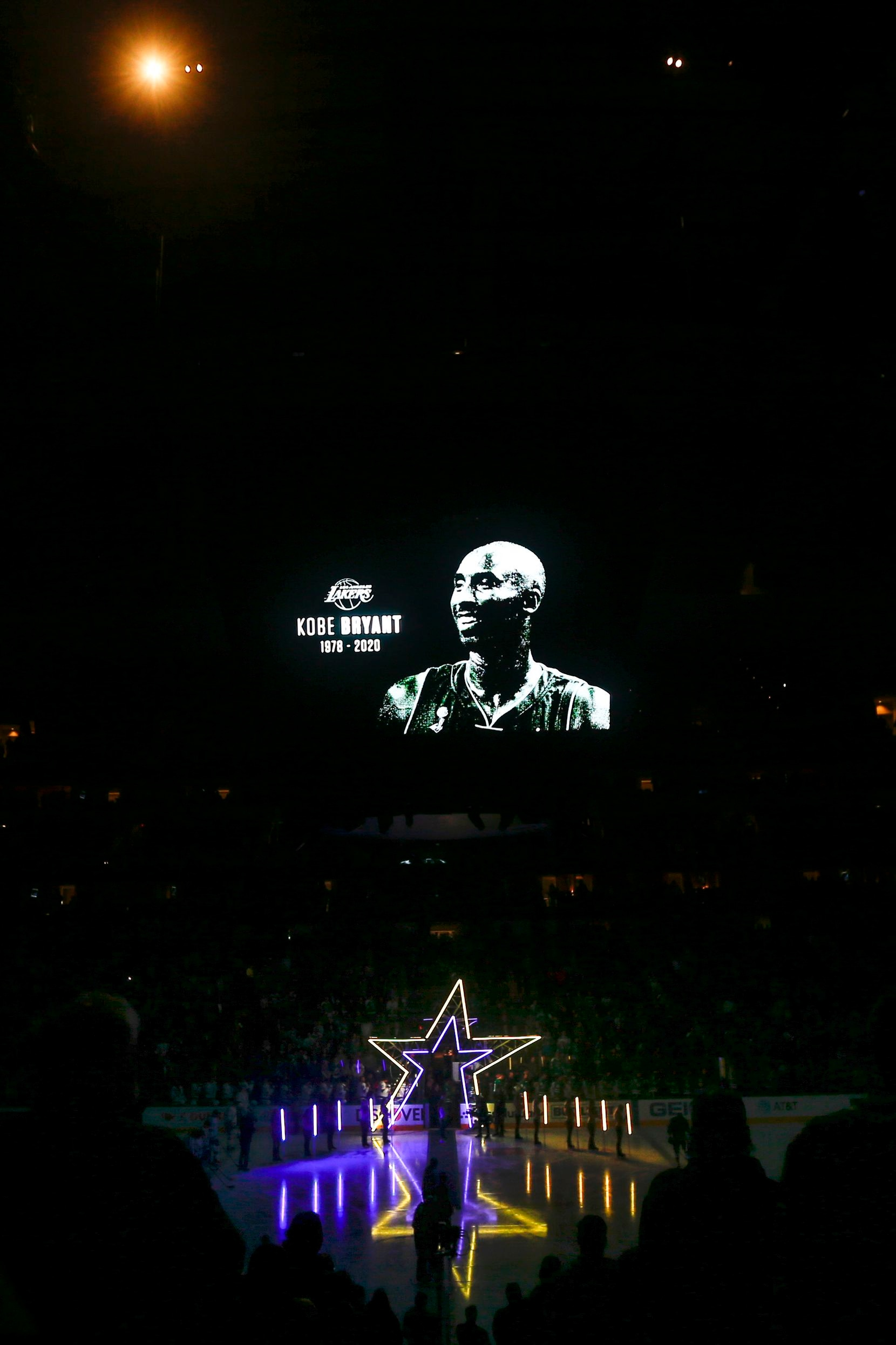The Dallas Stars honor Kobe and Gianna Bryant, who were killed in a helicopter crash Sunday, prior to a NHL matchup between the Dallas Stars and the Tampa Bay Lightning on Monday, Jan. 27, 2020 at American Airlines Center in Dallas.