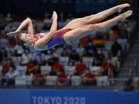 USA's Hailey Hernandez dives in the women's 3 meter springboard final during the postponed 2020 Tokyo Olympics at Tokyo Aquatics Centre, on Sunday, August 1, 2021, in Tokyo, Japan. Hernandez finished 9th with a total score of 288.45.