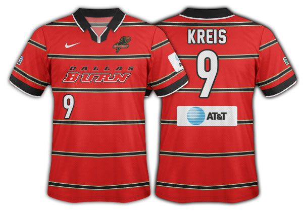 1998-99 Dallas Burn red with thin black hoops and burn wordmark primary.