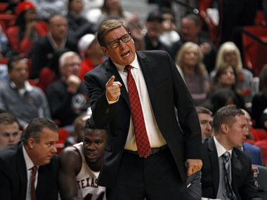 Texas Tech assistant coach Mark Adams yells out to the players during the first half of an NCAA college basketball game against Tennessee State, Thursday, Nov. 21, 2019, in Lubbock, Texas.