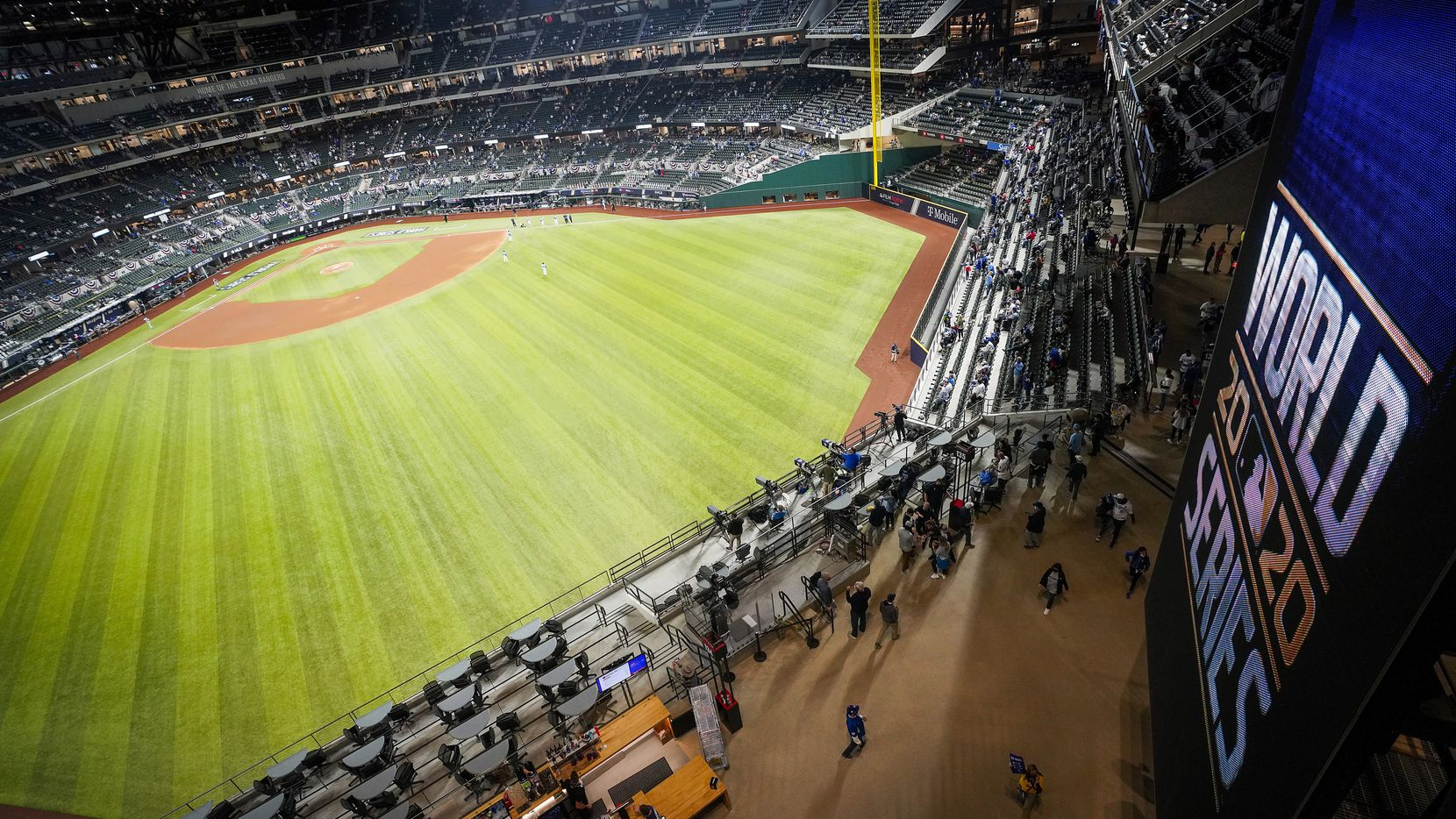 The Tampa Bay Rays take the field to face the Los Angeles Dodgers before Game 5 of the World Series between the Los Angeles Dodgers and the Tampa Bay Rays at Globe Life Field on Sunday, Oct. 25, 2020.