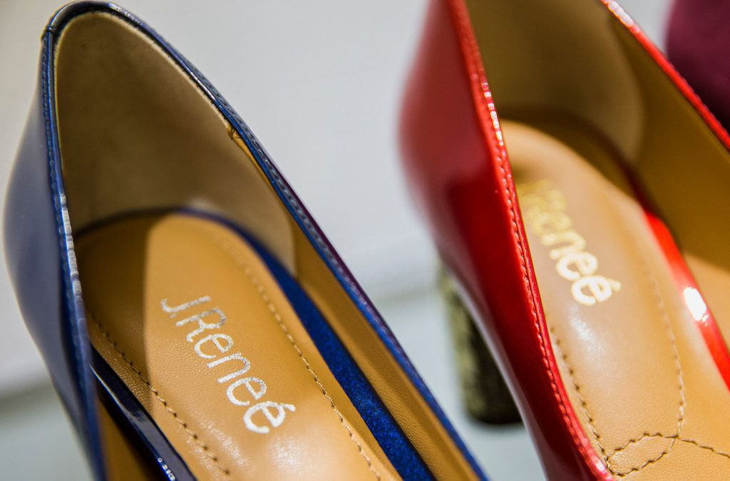Shoes are seen Friday, June 14, 2019 in the showroom of the Harrison family owned J. Renee shoe company in Carrolton, Texas.