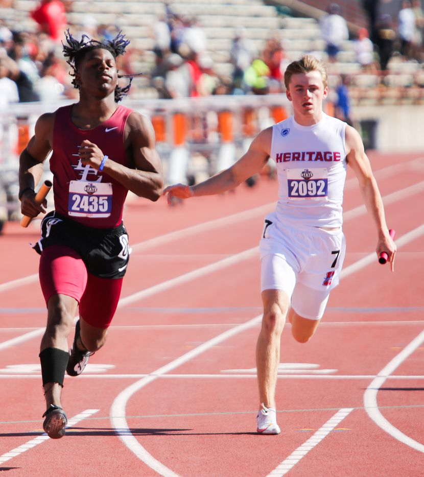 Midlothian Heritage's Carter Wilkerson was the last leg of the 4A boys 4x100 relay and finished 4th place after Tavieon Neal of Texarkana Liberty-Eylau during the UIL state track meet at the Mike A. Myers Stadium, at the University of Texas on May 6, 2021 in Austin, Texas.