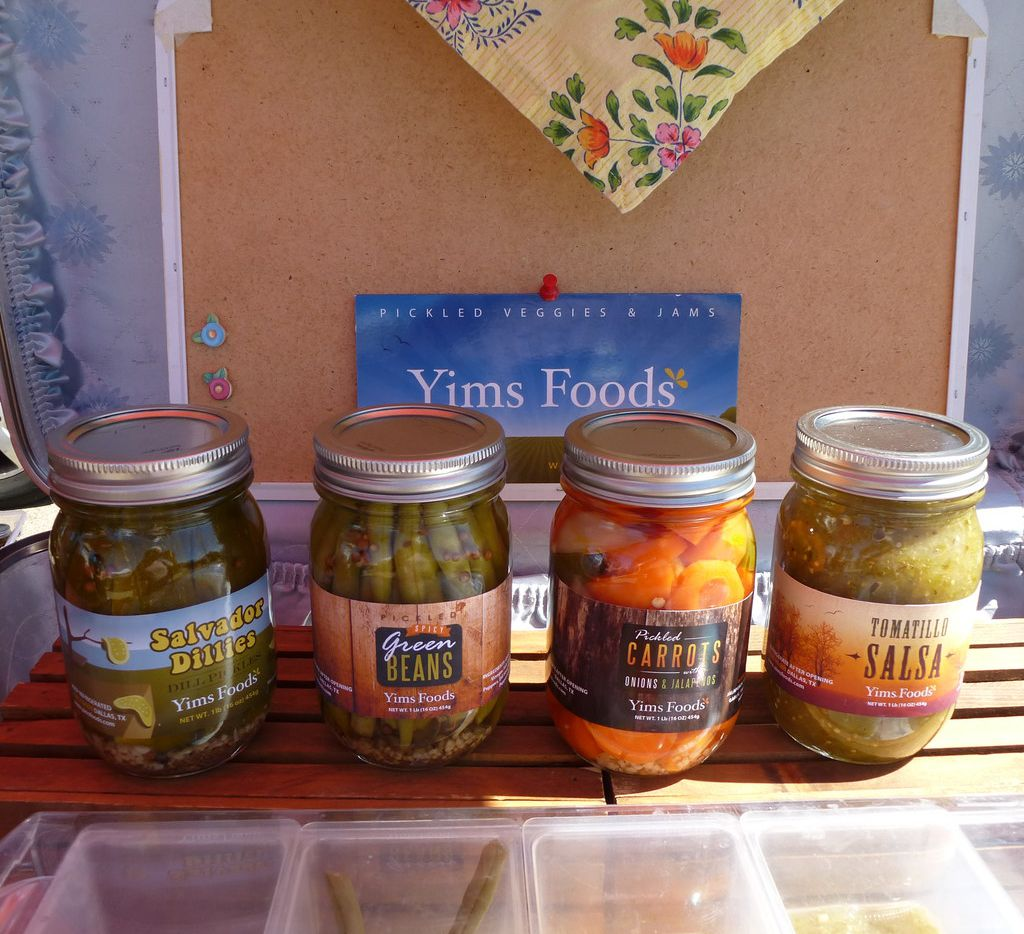 Yims Foods offered State Fair of Texas ribbon-winning pickled goods, dills to peach-habanero jam, at last Sunday's Lakewood Village Farmers Market debut.