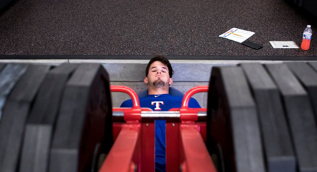 Texas Rangers' pitcher Cole Ragans works his legs at the Rangers' training facility Thursday, Aug. 9, 2018 in Surprise, Arizona. Ragans one of the top 2 picks in the 2016 draft is recovering from Tommy John surgery.(Darryl Webb/Special Contributor)