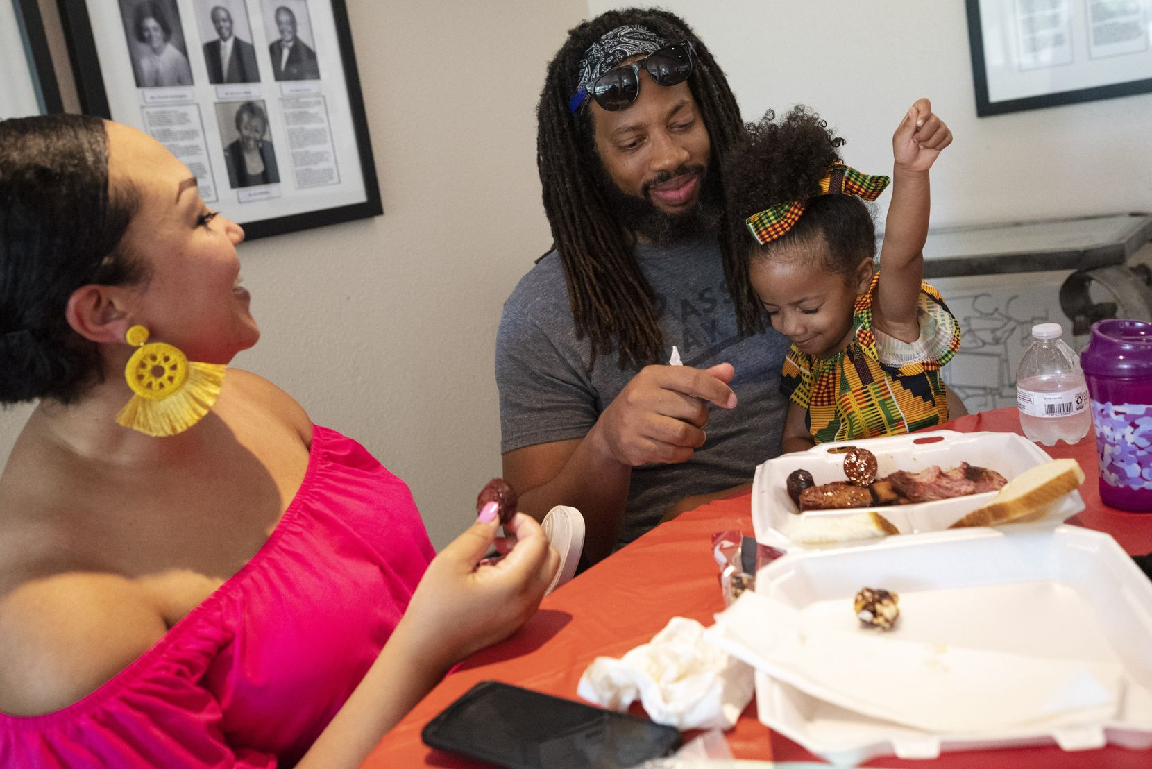 Egypt Shurn enjoyed the food she shared with parents Vernicia and Tommy Shurn on Saturday.