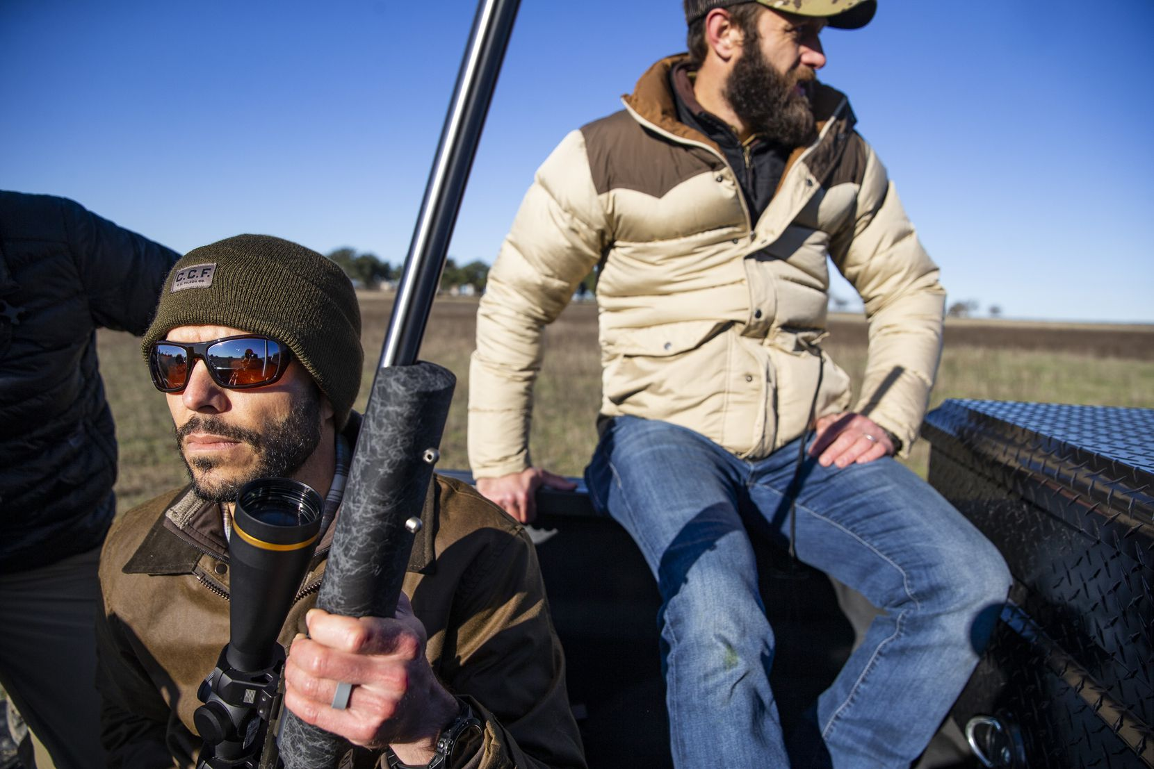 Robby Sansom (left), Co-Founder and CEO of Force of Nature Meats, rides out with Kirk Blanchard to harvest a bison at Roam Ranch in Fredericksburg, Texas, on Sunday, Jan. 19, 2020.