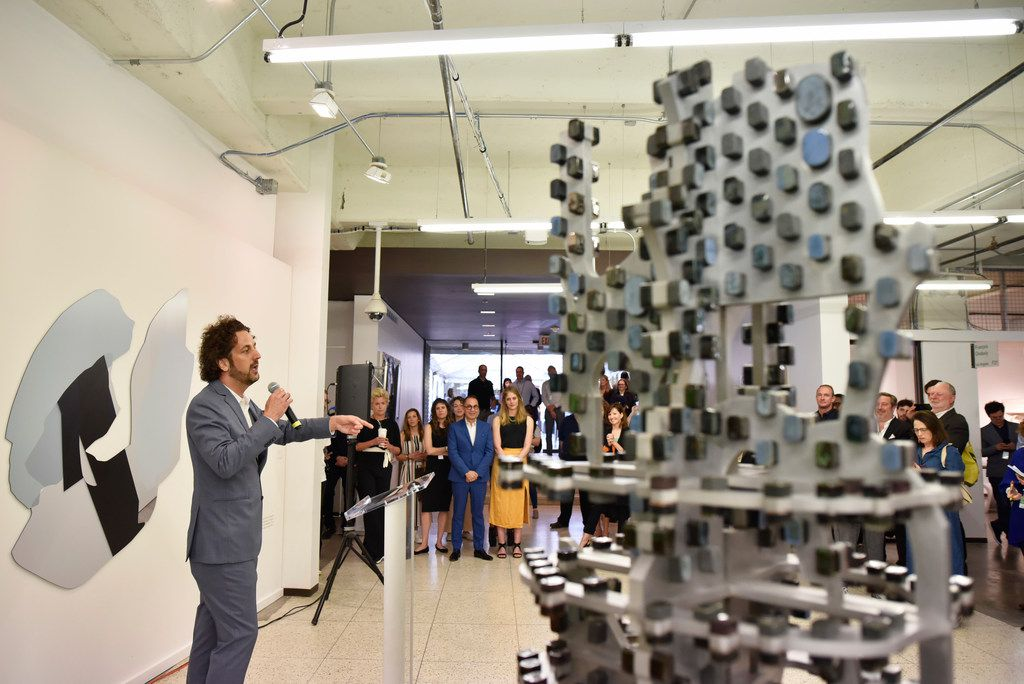 Brandon Kennedy, director of exhibitor relations, announces the fourth annual Dallas Art Fair Foundation Acquisition Program on April 11, 2019 at the Fashion Industry Gallery in downtown Dallas.