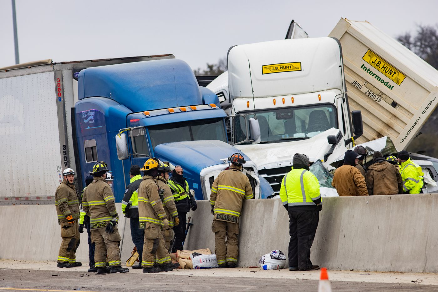 Emergency crews work to clear the mass casualty pile-up on I-35W and Northside Drive in Fort Worth on Thursday, Feb. 11, 2021. (Juan Figueroa/ The Dallas Morning News)