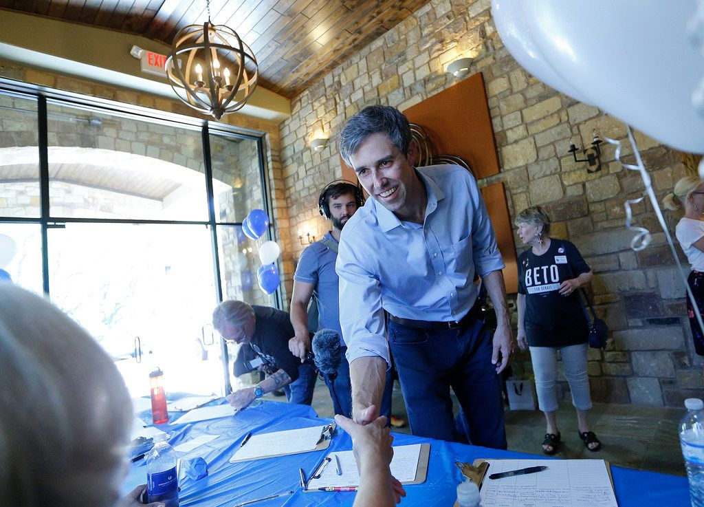 U.S. Rep. Beto O'Rourke  of El Paso greeted a supporter before a town hall meeting Aug. 16 in Horseshoe Bay.