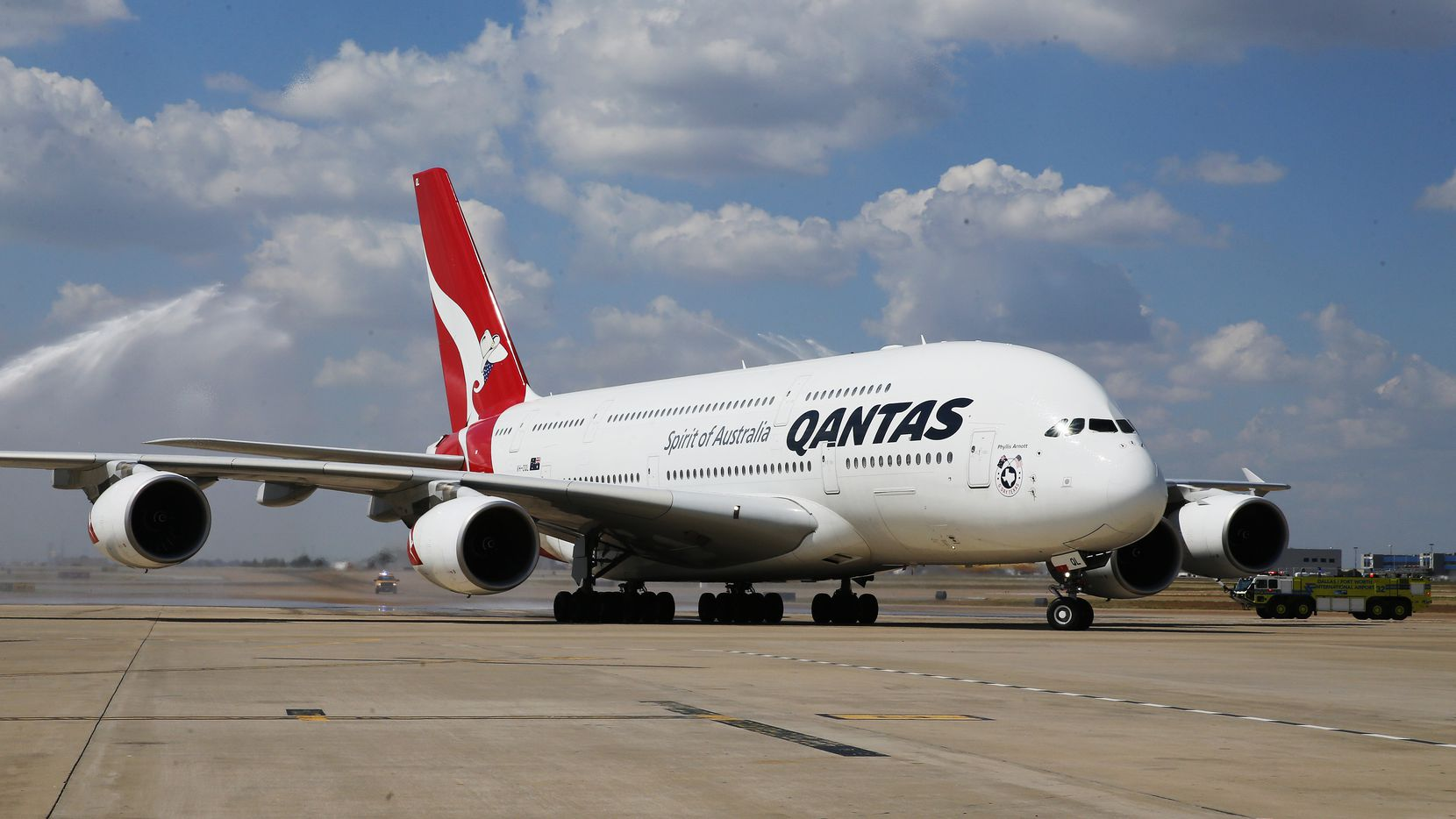 The first Qantas A380 airplane arrived at Dallas/Fort Worth International Airport in Sept. 2014 for the airline's first outbound flight from DFW to Australia that day.