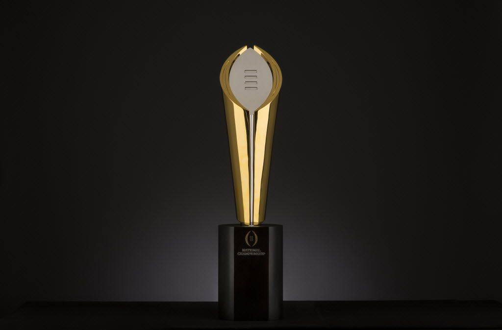 College Football Playoff National Championship trophy, photographed August 22, 2014. (Evans Caglage/The Dallas Morning News)