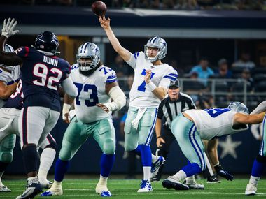 Dallas Cowboys quarterback Cooper Rush (7) throws a pass during the second quarter of an NFL game between the Dallas Cowboys and the Houston Texans on Saturday, August 24, 2019 at AT&T Stadium in Arlington.