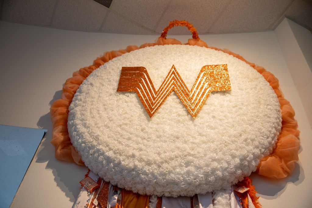 The Whatamum, on display at the Arlington Museum of Art, is an 18-foot-high, larger-than-life mum.
