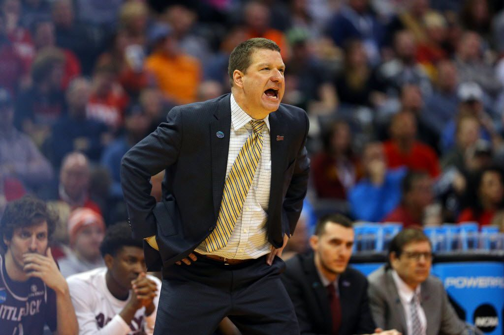 DENVER, CO - MARCH 19:  Head coach Chris Beard of the Arkansas Little Rock Trojans shouts in the second half against the Iowa State Cyclones during the second round of the 2016 NCAA Men's Basketball Tournament at the Pepsi Center on March 19, 2016 in Denver, Colorado.  (Photo by Justin Edmonds/Getty Images)