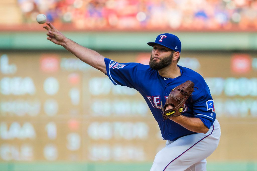 Texas Rangers starting pitcher Lance Lynn pitches during the first inning against the Detroit Tigers at Globe Life Park on Friday, Aug. 2, 2019, in Arlington. (Smiley N. Pool/The Dallas Morning News)