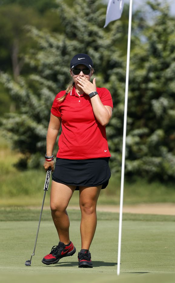 Amateur golfer Avery Zweig, 14, of McKinney reacts after her putt slipped past the 12th hole during her opening round of the LPGA VOA Classic at the Old American Golf Club in The Colony, Texas, Thursday, July 1, 2021. (Tom Fox/The Dallas Morning News)