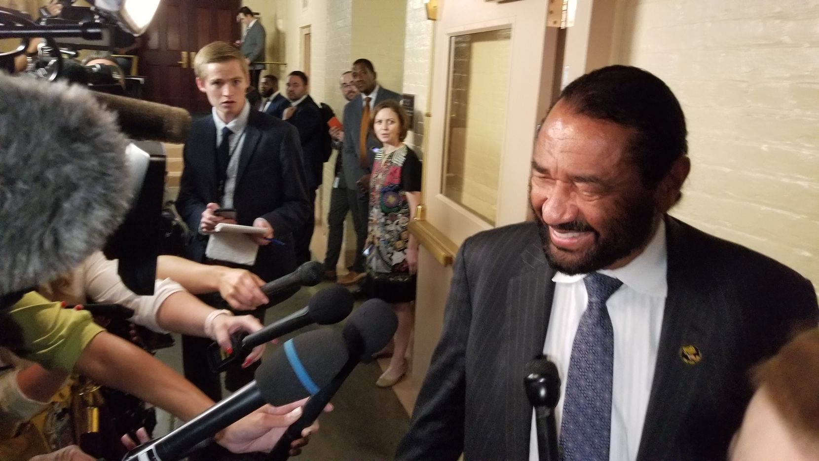 Rep. Al Green, a Houston Democrat who has demanded impeachment of Donald Trump since the president took office, was pleased that Speaker Nancy Pelosi had ordered an inquiry to move forward. He spoke with reporters at the Capitol on Sept. 24, 2019, after her announcement.