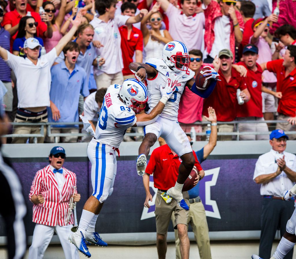 Southern Methodist Mustangs wide receiver James Proche (3) and tight end Kylen Granson (83) during the second quarter celebrate after scoring a touchdown of a college football game between SMU and TCU on Saturday, September 21, 2019 at Amon G. Carter Stadium in Fort Worth.