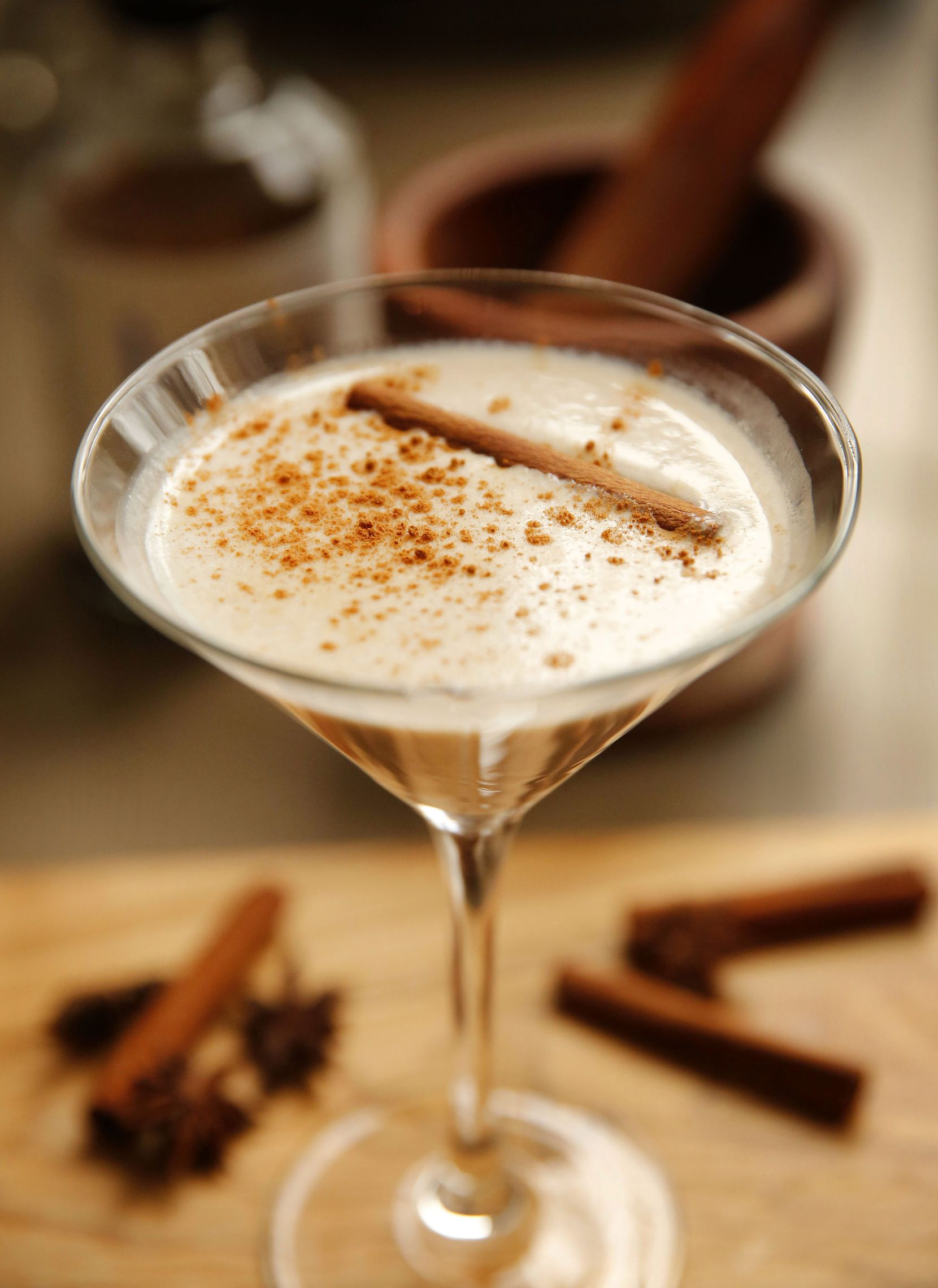 Deric and Brooklynn Cahill plan on selling a dessert martini at their new vegan restaurant with sober bar. The drink is made with Kin Euphorics Dream Light, oat milk, almond butter, ashwagandha root, simple syrup and topped with cinnamon.