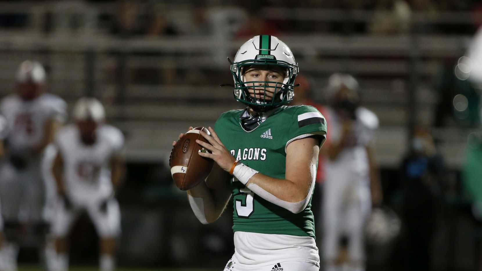 Southlake Carroll quarterback Quinn Ewers (3) looks to pass against Rockwall Heath during their high school football gam in Southlake, Texas, on Oct. 2, 2020. (Michael Ainsworth/Special Contributor)