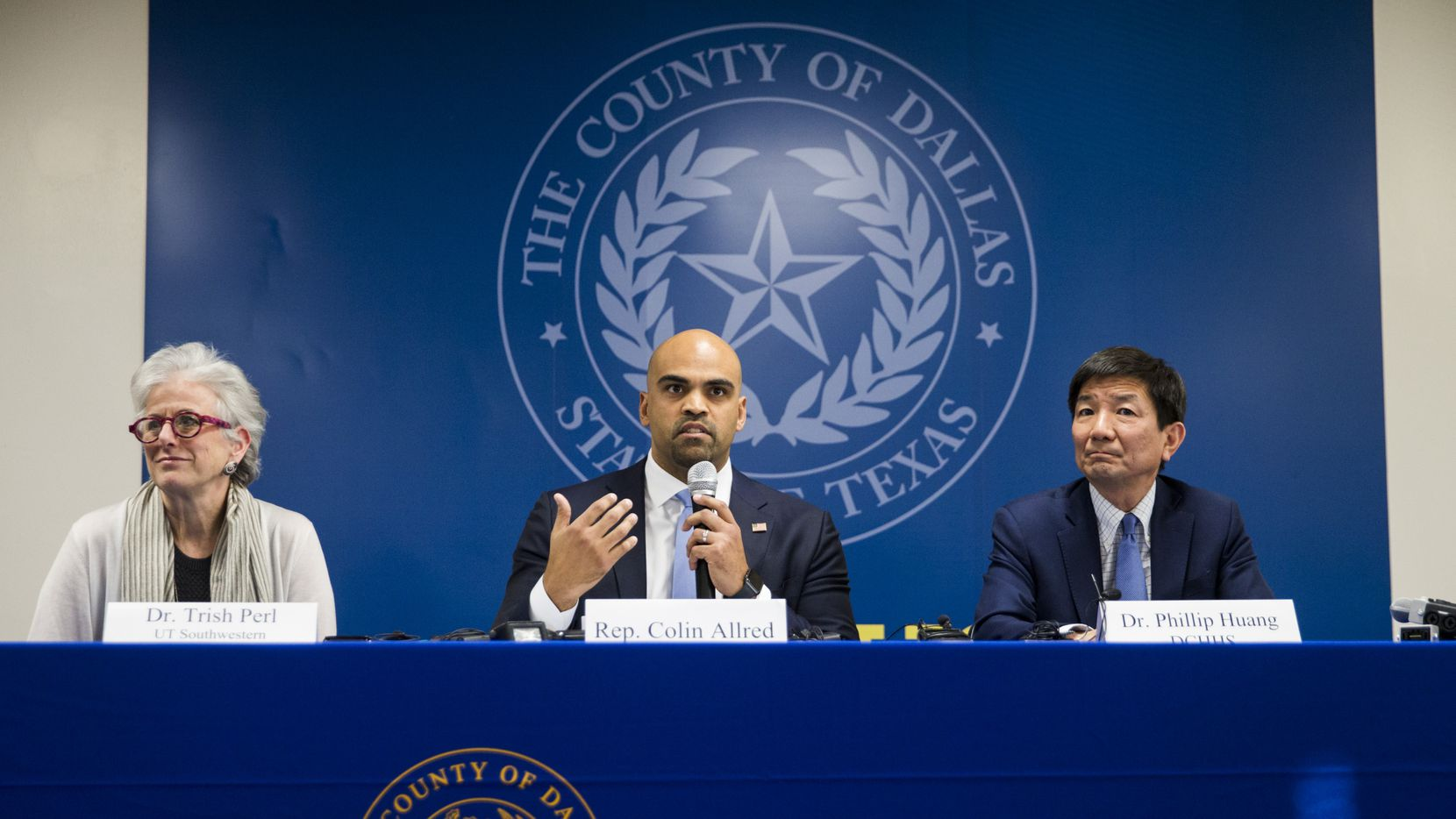 Congressman Colin Allred (TX-32, center) joins Dr. Trish M. Perl (left), the Chief of the Division of Infectious Diseases at UT Southwestern Medical Center, and Dr. Philip Huang, the Director of Dallas County Health and Human Services, discuss how Dallas County is handling Corona Virus on Friday, March 6, 2020 at the Dallas County Health and Human Services Building in Dallas. The talk was moderated by Texas State Senator Nathan
