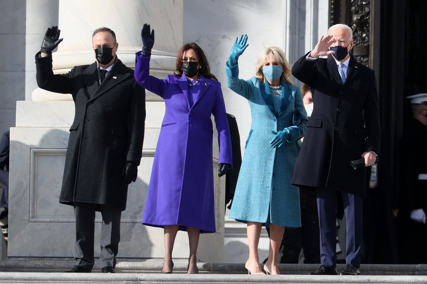 From left, Doug Emhoff, U.S. Vice President-elect Kamala Harris, Jill Biden and President-elect Joe Biden wave as they arrive on the East Front of the U.S. Capitol for  the inauguration on Jan. 20.