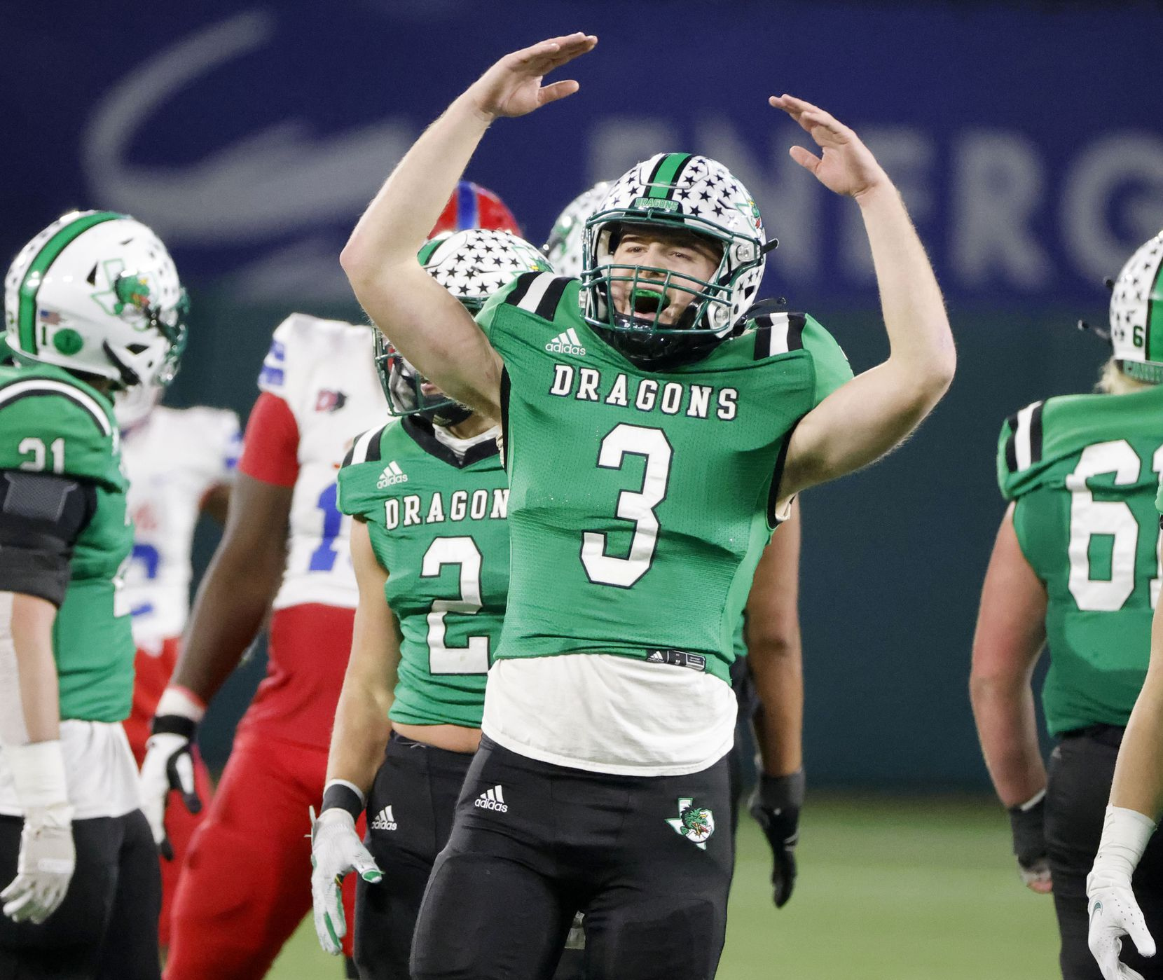 Southlake quarterback Quinn Ewers (3) reacts as Southlake defeated Duncanville 34-27 during the Class 6A Division I state high school football semifinal in Arlington, Texas on Jan. 9, 2020. (Michael Ainsworth)