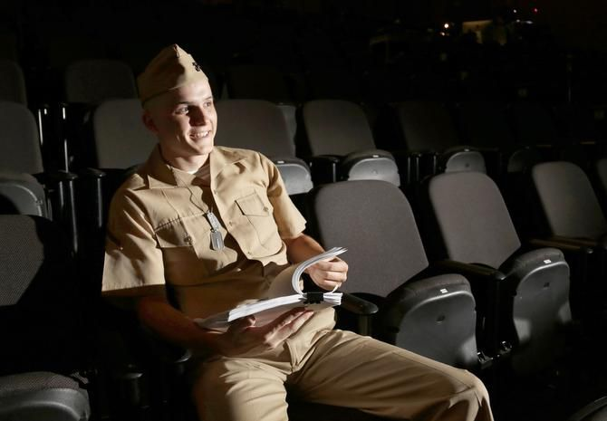 """Zak Reynolds during a rehearsal for """"Dogfight"""" at WaterTower Theatre in Addison, TX July 22, 2014."""