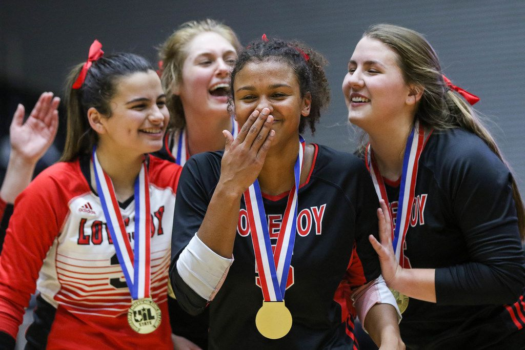 Lovejoy's Cecily Bramschreiber  (5) (center) was named MVP after winning a class 5A volleyball state semifinal match against Canyon Randall at the Curtis Culwell Center in Garland, on Saturday, November 23, 2019. Lovejoy won all three sets 27-25, 25-17 and 25-15. (Juan Figueroa/The Dallas Morning News)