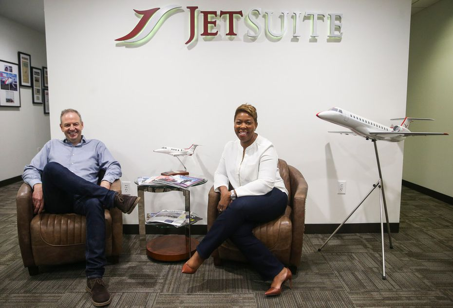 JetSuite CEO Alex Wilcox (left) and President Stephanie Chung pose for a photograph together Friday, Sept. 14, 2018 in Dallas. (Ryan Michalesko/The Dallas Morning News)