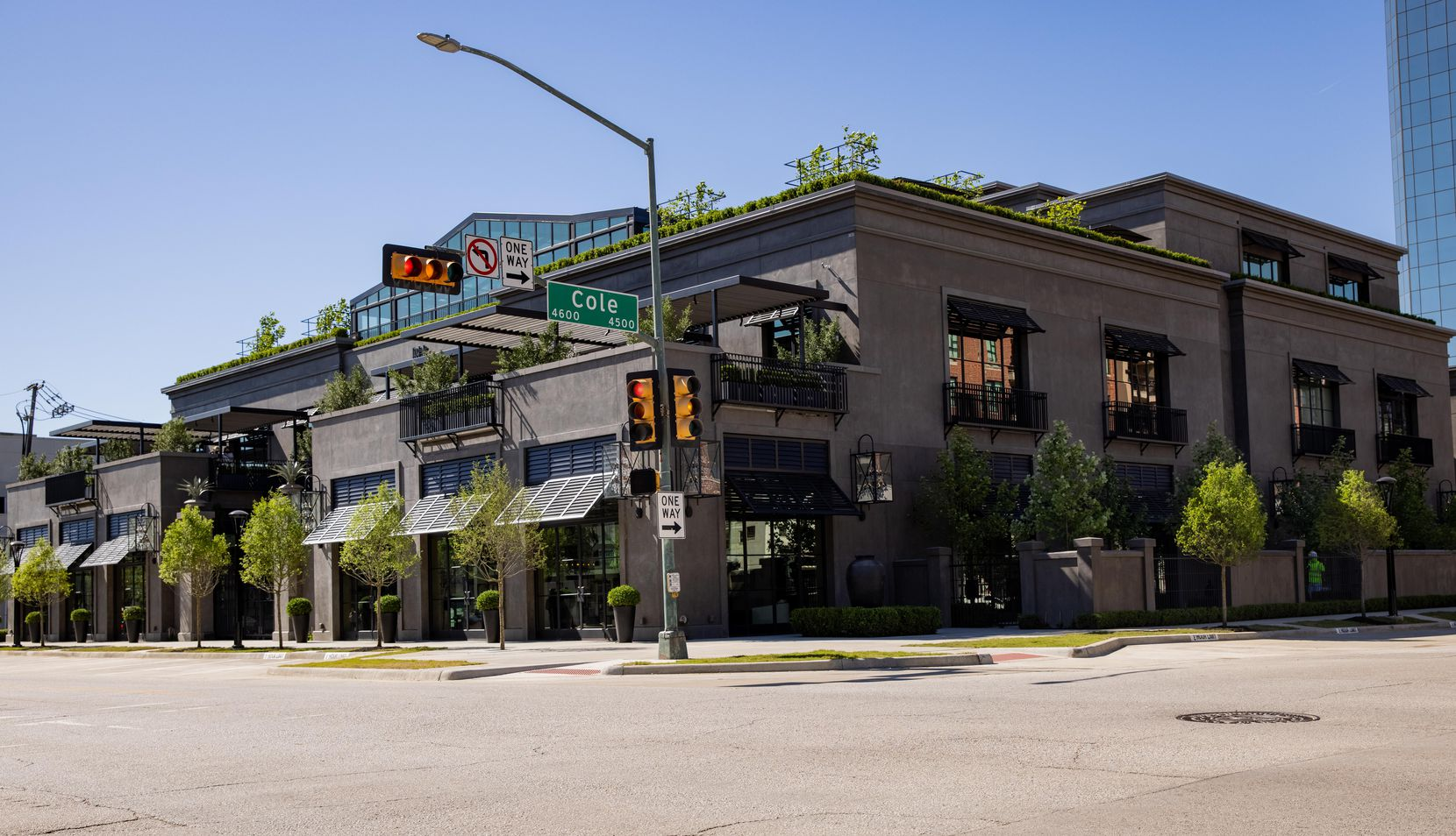 The exterior of the new RH store in Dallas, seen from the corner of Cole Avenue and Knox Street.