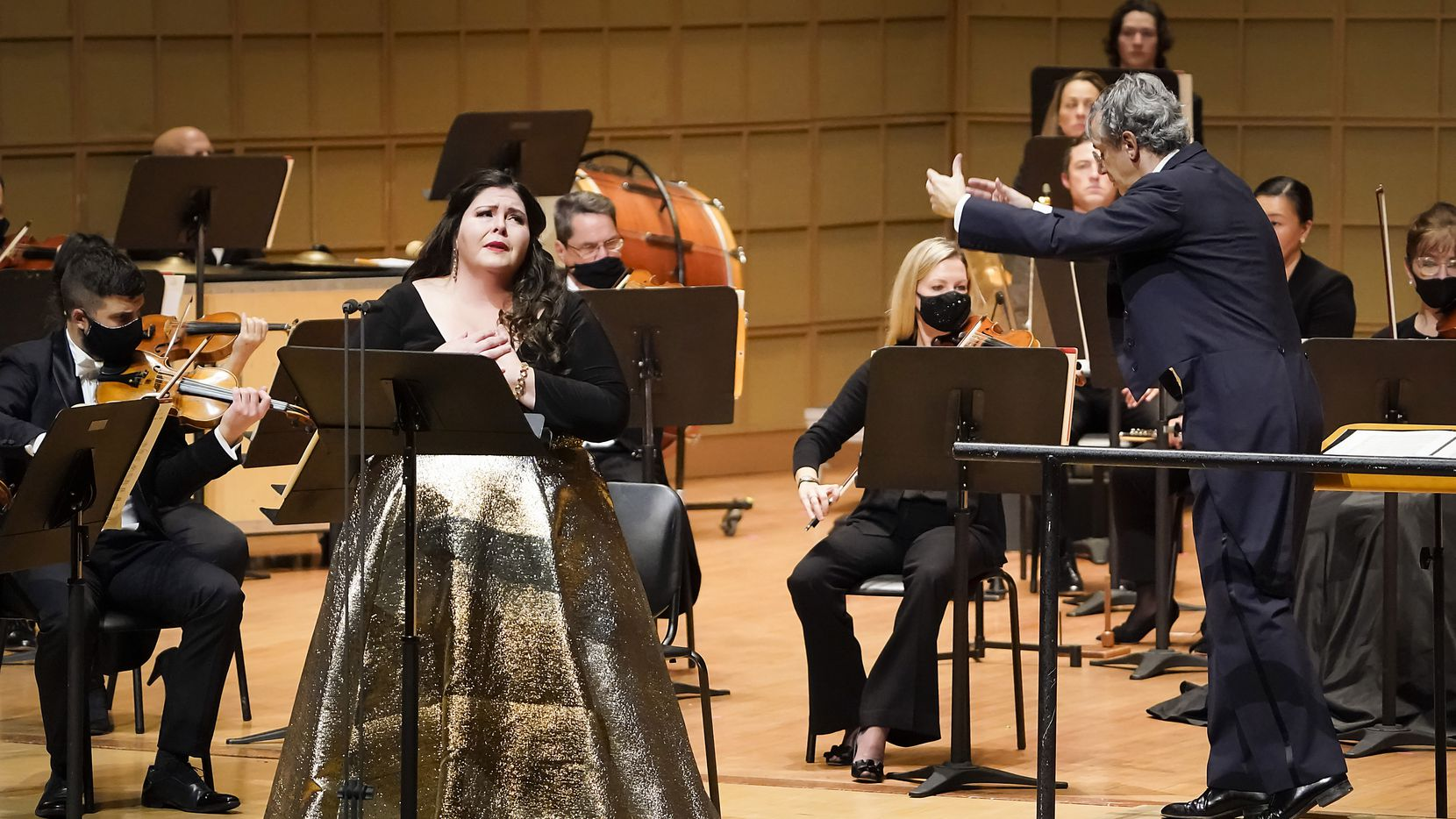 Soprano Angela Meade performs as Fabio Luisi conducts the Dallas Symphony Orchestra in concert at the Meyerson Symphony Center on Thursday, Oct. 29, 2020, in Dallas.