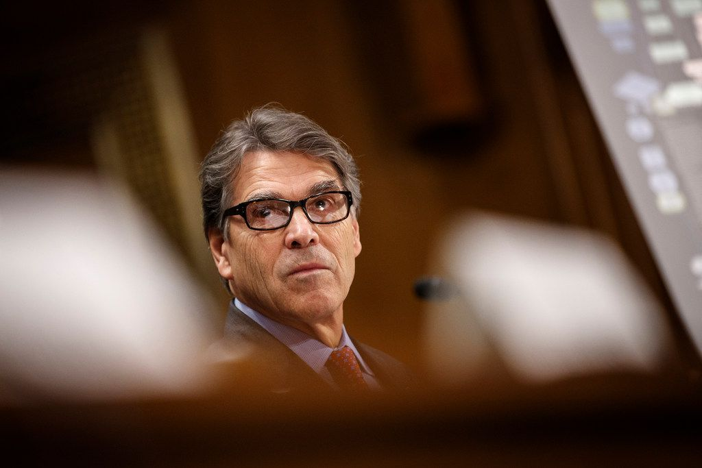 Energy Secretary Rick Perry attends a Senate hearing on infrastructure policy on March 14. President Donald Trump has ordered Perry to prepare immediate steps to stop the closure of unprofitable coal and nuclear plants around the country. Many of the actions under discussion would entail sweeping market interventions.
