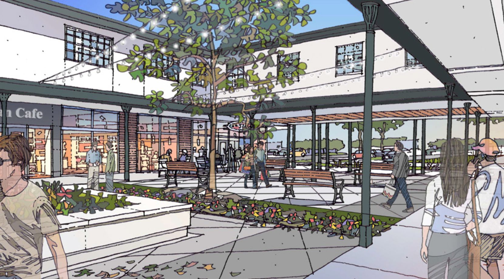 Casa View's central retail courtyard will get a redo with new landscaping and paving.