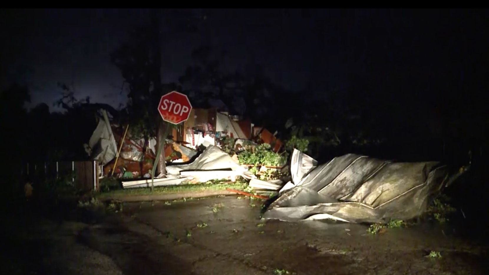 Storm damage in Bowie, Texas, after a possible tornado on Friday, May 22, 2020.