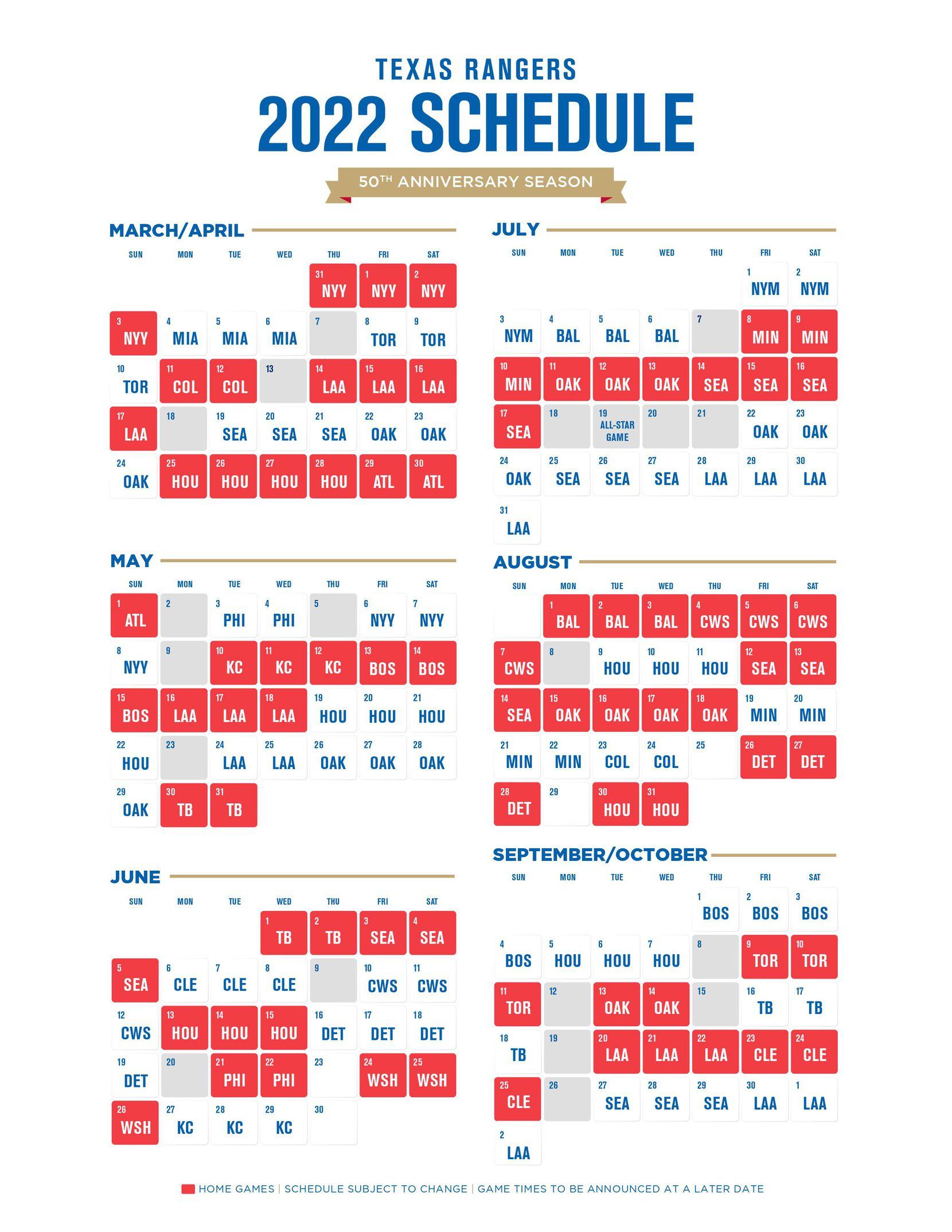 Calendario de la temporada 2022 de los Rangers de Texas.