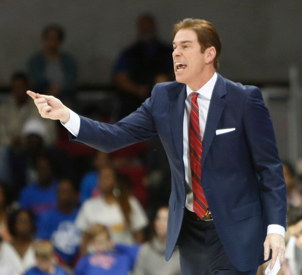 SMU head coach Tim Jankovich directs his players during first half action against UCF. The two teams  played their NCAA Division 1 mens basketball game at SMU's Moody Coliseum in Dallas on February 10, 2019. (Steve Hamm/ Special Contributor)
