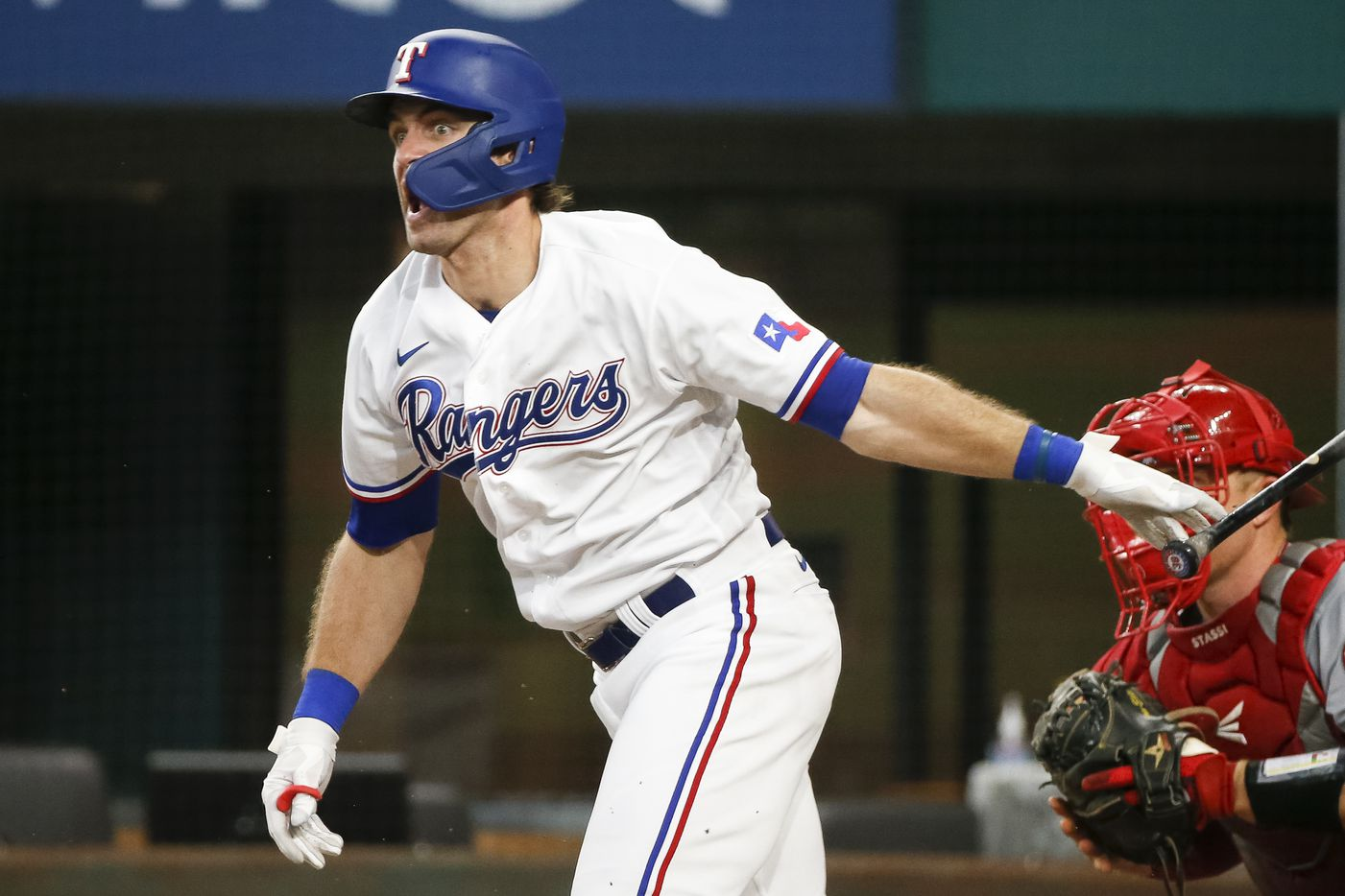 Texas Rangers center fielder DJ Peters (38) reacts after hitting a single during the ninth inning against the Los Angeles Angels at Globe Life Field on Thursday, Aug. 5, 2021, in Arlington. (Elias Valverde II/The Dallas Morning News)