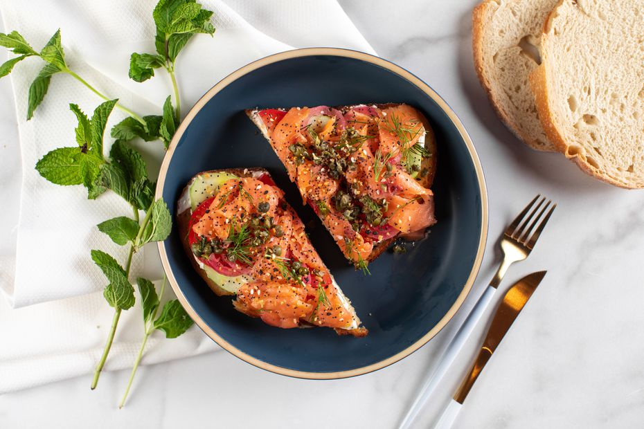 The smoked salmon toast at Rise & Thyme comes with cream cheese, pickled red onion, capers, cucumber, tomato dill and 'everything' spice. Celebrity chef Amanda Freitag's restaurant in downtown Dallas is expected to open Sept. 18, 2020.