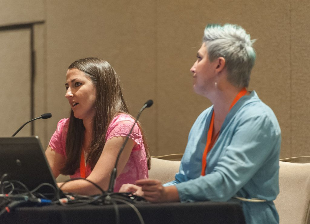 """Rachel Farnsworth (left) and Ashlee Marie Prisbrey spoke at a panel discussion, """"How to Create Great Videos When You're a One-Woman Show,"""" at #BlogHerFood16."""