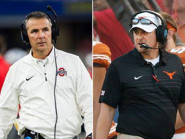 Former Ohio State head football coach Urban Meyer (left) and Texas head football coach Tom Herman. (File photos)