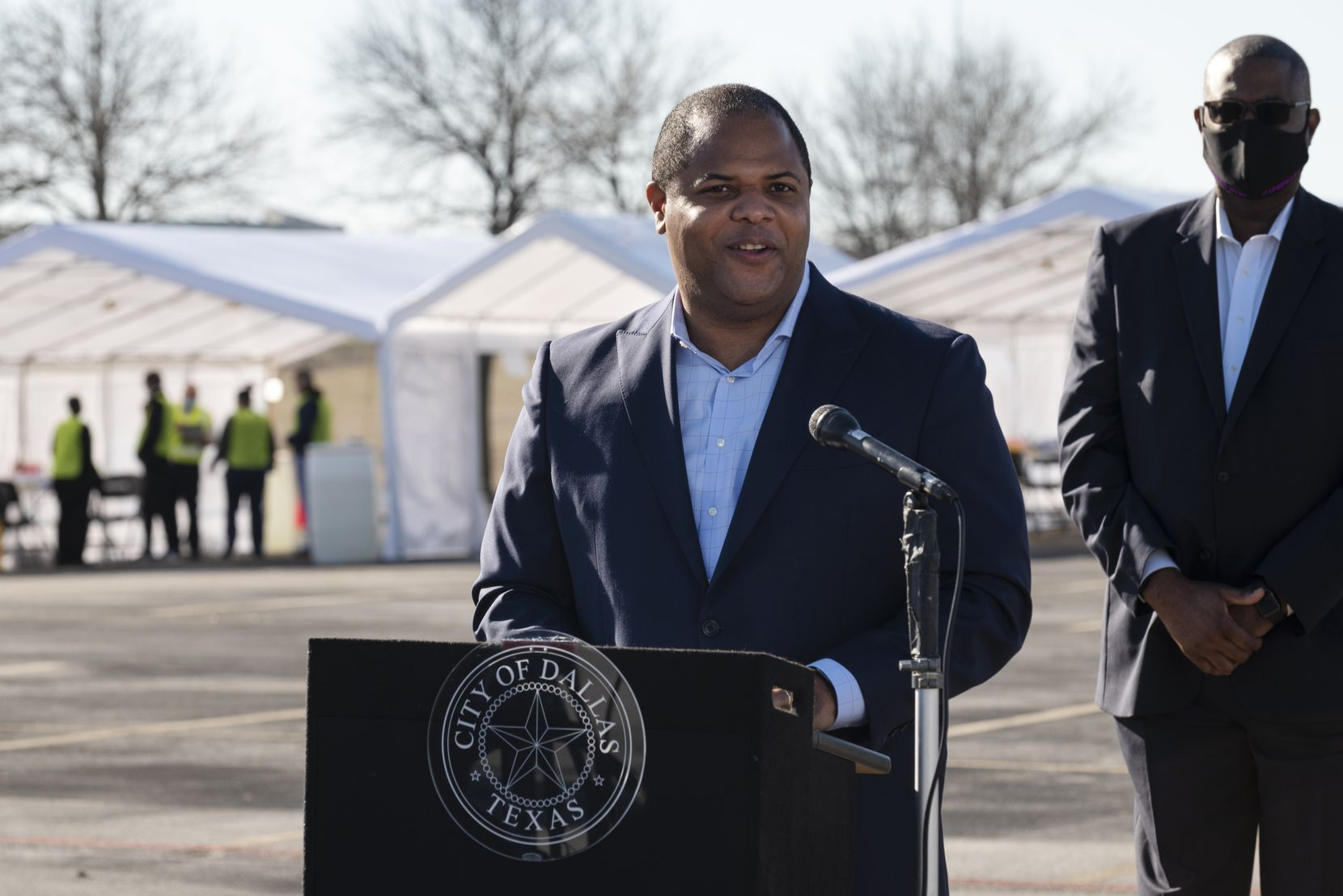 Dallas Mayor Eric Johnson addressed the media at The Potter's House before the city officially opened a drive-through vaccination site at the church.