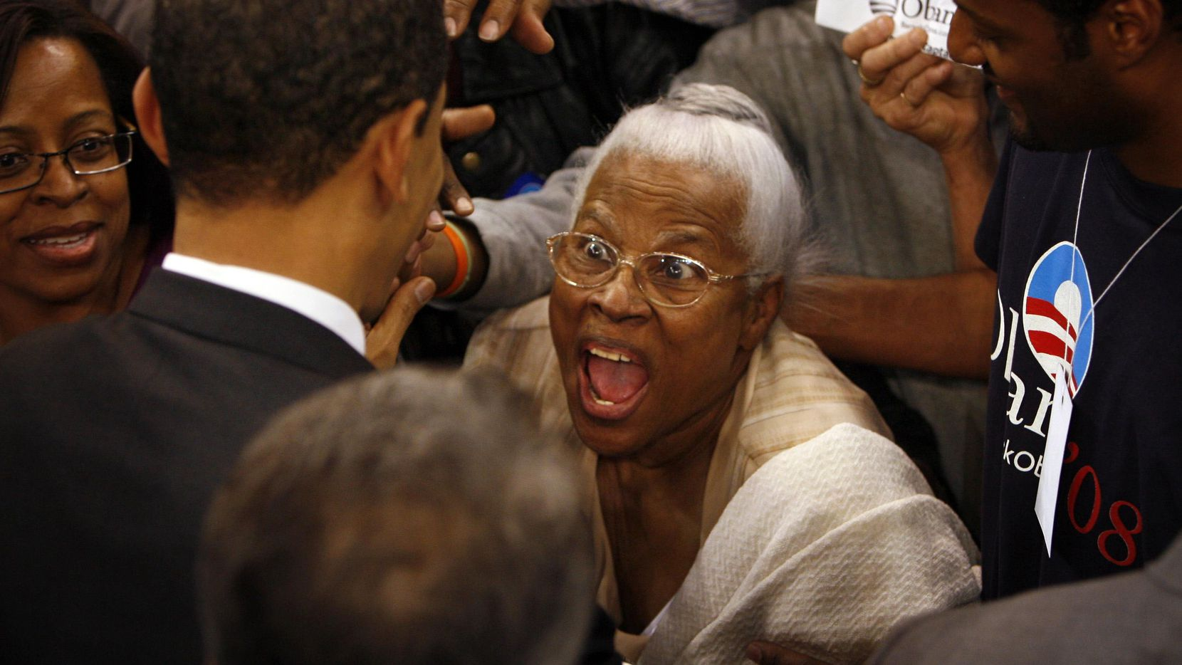 Then-Senator Barack Obama (D-IL) meets Opal Lee in the crowd after his Presidential campaign speech at the Fort Worth Convention Center in Fort Worth on Thursday, February 28, 2008.