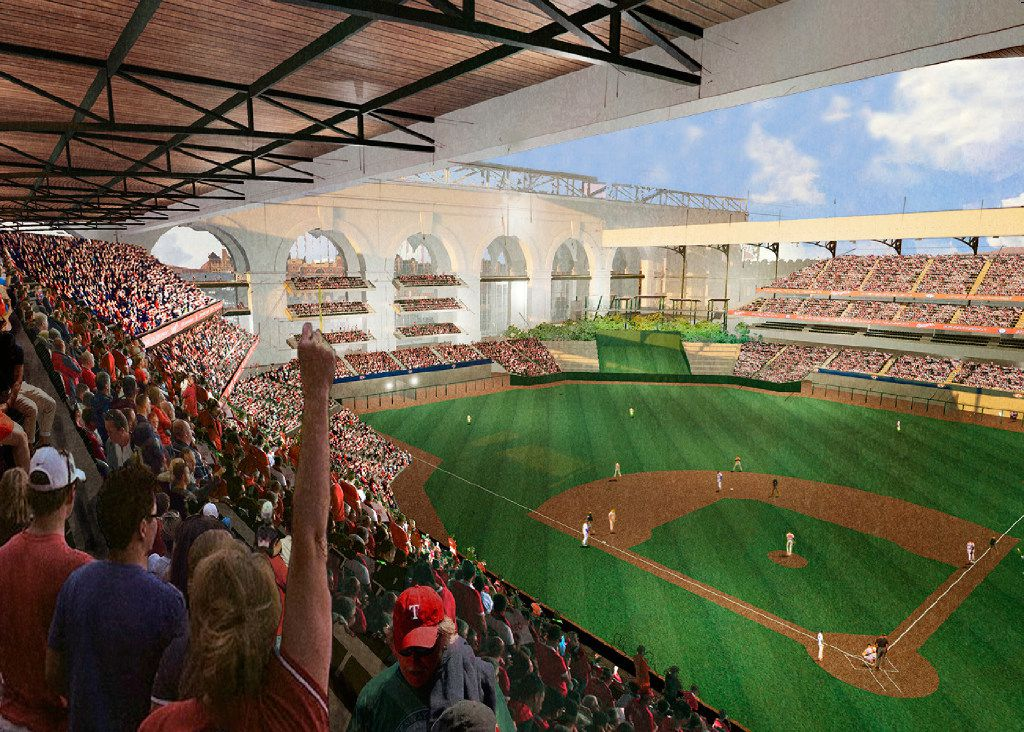 The Texas Rangers will move into a new $1 billion, retractable-roof stadium in 2020. Official renderings have not been released, but this image was provided earlier this year as a possible look for the new facility. Manhattan Construction will build it, while HKS will handle the design.
