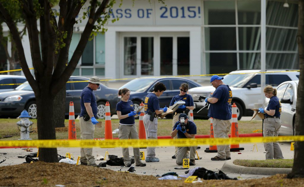 FBI personnel document the crime scene on May 4, 2015, outside Curtis Culwell Center in Garland.