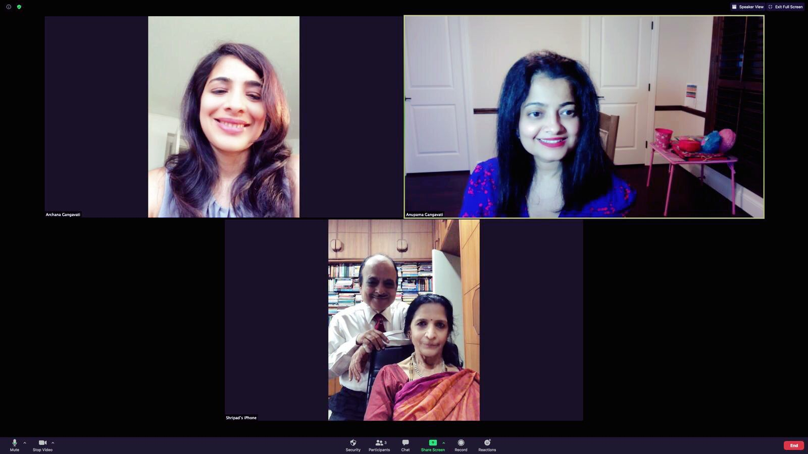 Sisters Archana Gangavati (top left) and Dr. Anupama Gangavati (top right) keep tabs on parents Shripad (standing) and Parimala Gangavati in India through Zoom and WhatsApp.